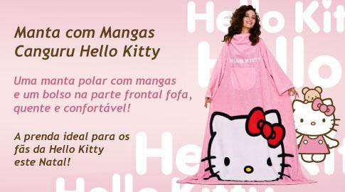 Manta com Mantas com um bolso e a imagem da Hello Kitty